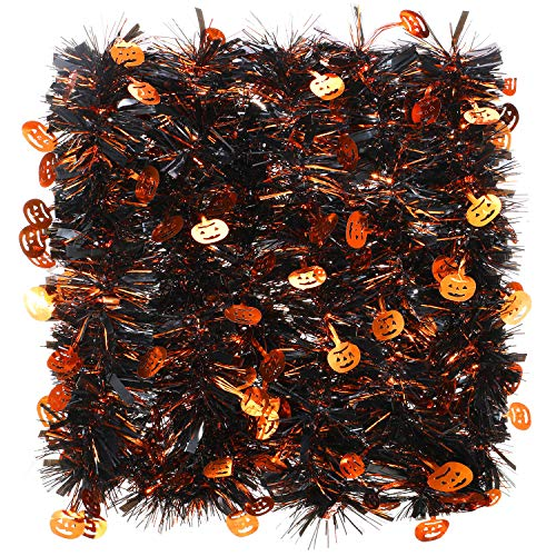 8 Stück 52.4 Fuß Halloween Kürbis Lametta Girlande Schwarz und Orange Metallisch Urlaub Lametta Twist Girlande Dekoration für Halloween Party Haus Indoor Outdoor Ornamente