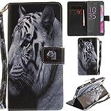 Ooboom® Sony Xperia XA Ultra Funda Magnético Flip Wallet Case Cover Carcasa PU de Cuero Piel Billetera Soporte para Sony Xperia XA Ultra - Tigre Blanco
