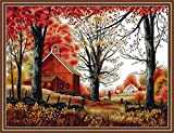Maydear Cross Stitch Kits Stamped Full Range of Embroidery Starter Kits for Beginners DIY 14 CT 2 Strands - Deep Autumn 20.87×16.54 inch
