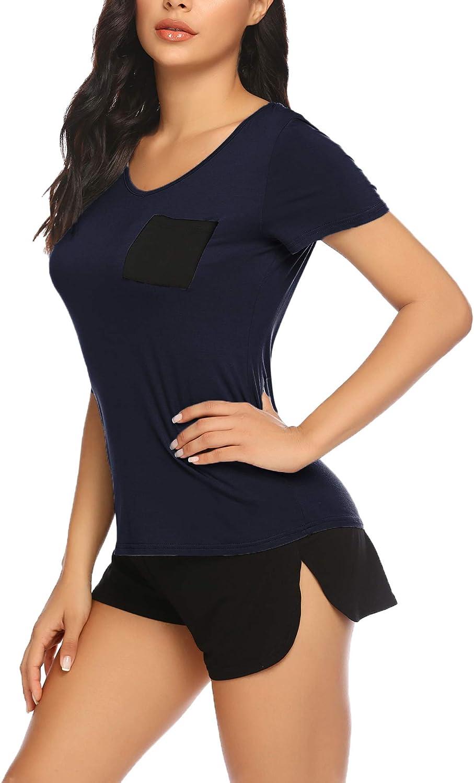 DEALKOO Womens Pajamas Set Short Sleeve V-Neck Sleepwear Nightwear Pjs S-XXL