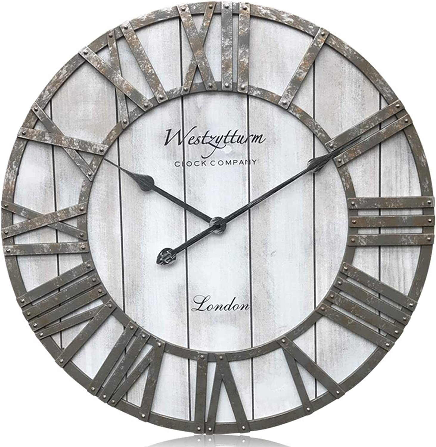Westzytturm Wooden Wall Clock Battery Operated Non Ticking Quartz Movement Silent Retro Metal Hands Round Wood Rustic Large Clocks for Living room Decor Antique Office Beach Mantel(Grey, 24 inch)