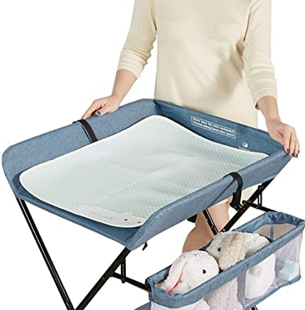 LNDDP Folding Changing Table with Pad  Baby Diaper Station Storage Nursery Organizer for Infant Newborn  97cm High  color GRAY