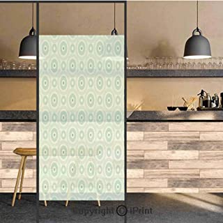 3D Decorative Privacy Window Films,Retro Disc Shaped Inner Circles with Nostalgic Featured Geometric Graphic,No-Glue Self Static Cling Glass Film for Home Bedroom Bathroom Kitchen Office 24×71 Inch