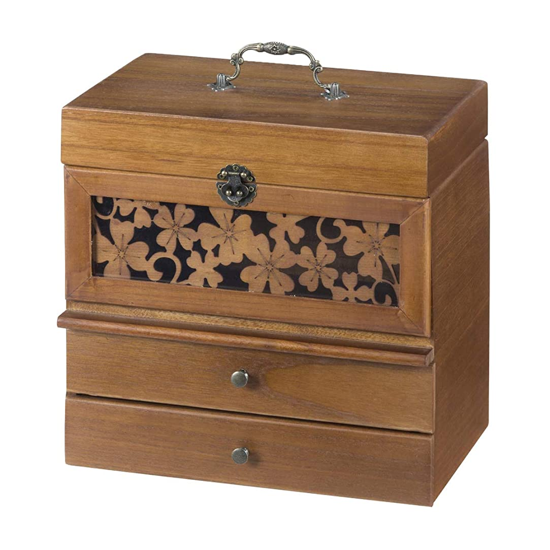 災難取る駐地コスメボックス メイクボックス メイク 収納 木製 切り絵風コスメボックス 奥行28cm KP-5500
