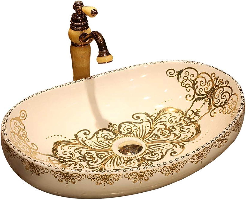 Badezimmer Oval Waschbecken im europischen Stil mit Waschbecken Jingdezhen Ceramic Hotel Spritzwasser-Waschbecken Waschbecken