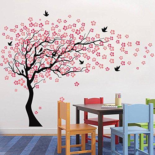 Favourall Wandaufkleber Kirschbaum Weiß Baum Wandsticker für Kinder Schlafzimmer/ Natur Vögel Art Dekor Heim Bunt aufkleber,Aufkleber/Sticker,Vinyl, für Kinderzimmer