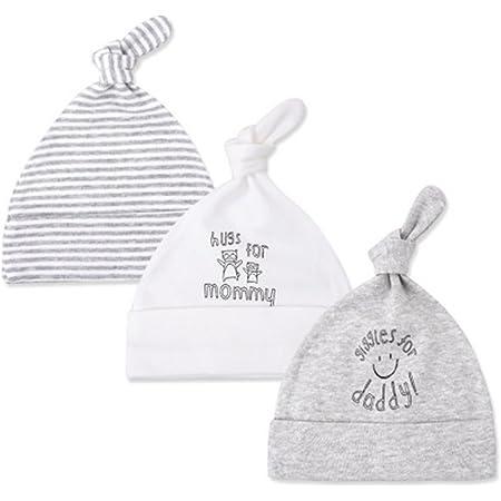 Nouveau Bébé Garçons Filles Pack 2 en coton blanc chapeaux brodé argenté formulation nouveau-né