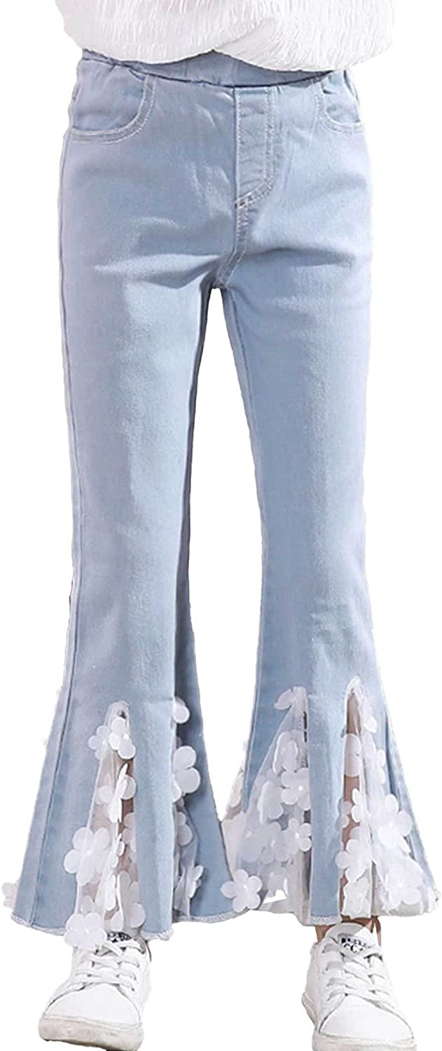 Zbaisen Kids Girls Elastic Large special price Waist Lace Flower Cheery Jeans Flared In stock