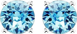 Swarovski Earrings, Birthstone Color Swarovski Stud Earrings, Swarovski Crystal Earring Studs with Certificate and Warranty, Sterling Silver Hypoallergenic Stud Earrings for Women