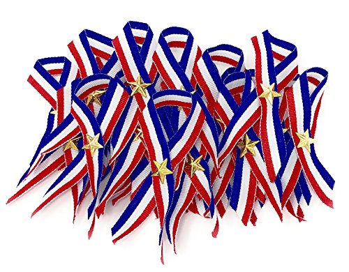 48 Bulk Patriotic Ribbon with Gold Star (Red, White, and Blue)