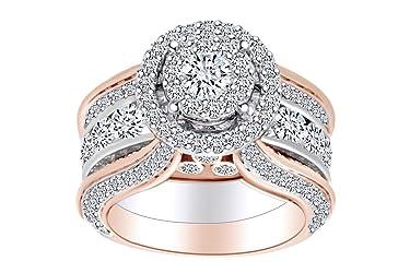 5.14 Cttw Round White Natural Diamond Wedding Bridal Ring Set In 10k Two Tone Gold-Ring Size