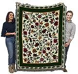 Chelseas Garden - Cotton Woven Blanket Throw - Made in The USA (72x54)