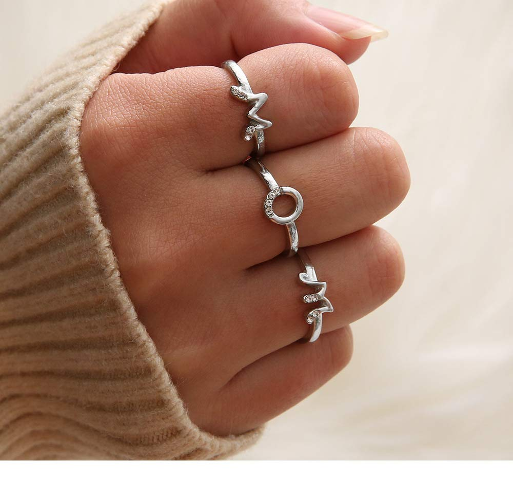 Milacolato Sterling Silver Initial Ring for Women Minimalist Letter Ring Charm Stackable Band Adjustable Knuckle Rings
