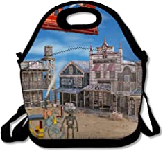 Reusable Lunch Bag for Men Women Dry Blue Abandoned Old Western Steam Punk Historic Brown Air Ship Android Badlands Barroom Design Dusty Insulated Lunch Tote for Travel Office School