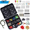 TOPFORT 187/230pcs Fishing Accessories Kit, Including Jig Hooks, Bullet Bass Casting Sinker Weights, Different Fishing Swivels Snaps, Sinker Slides, Fishing Line Beads, Fishing Set with Tackle Box...