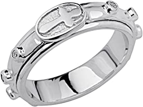 The World Jewelry Center .925 Sterling Silver Rhodium Plated Religious Rosary/Rosario Spinning Prayer Ring