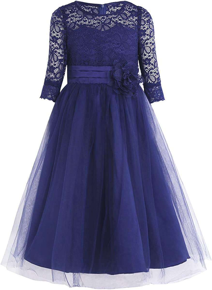CHICTRY Kids Girls' Vintage Princess Lace Tutu Long Party Junior Bridesmaid Wedding Pageant Maxi Gown Dress