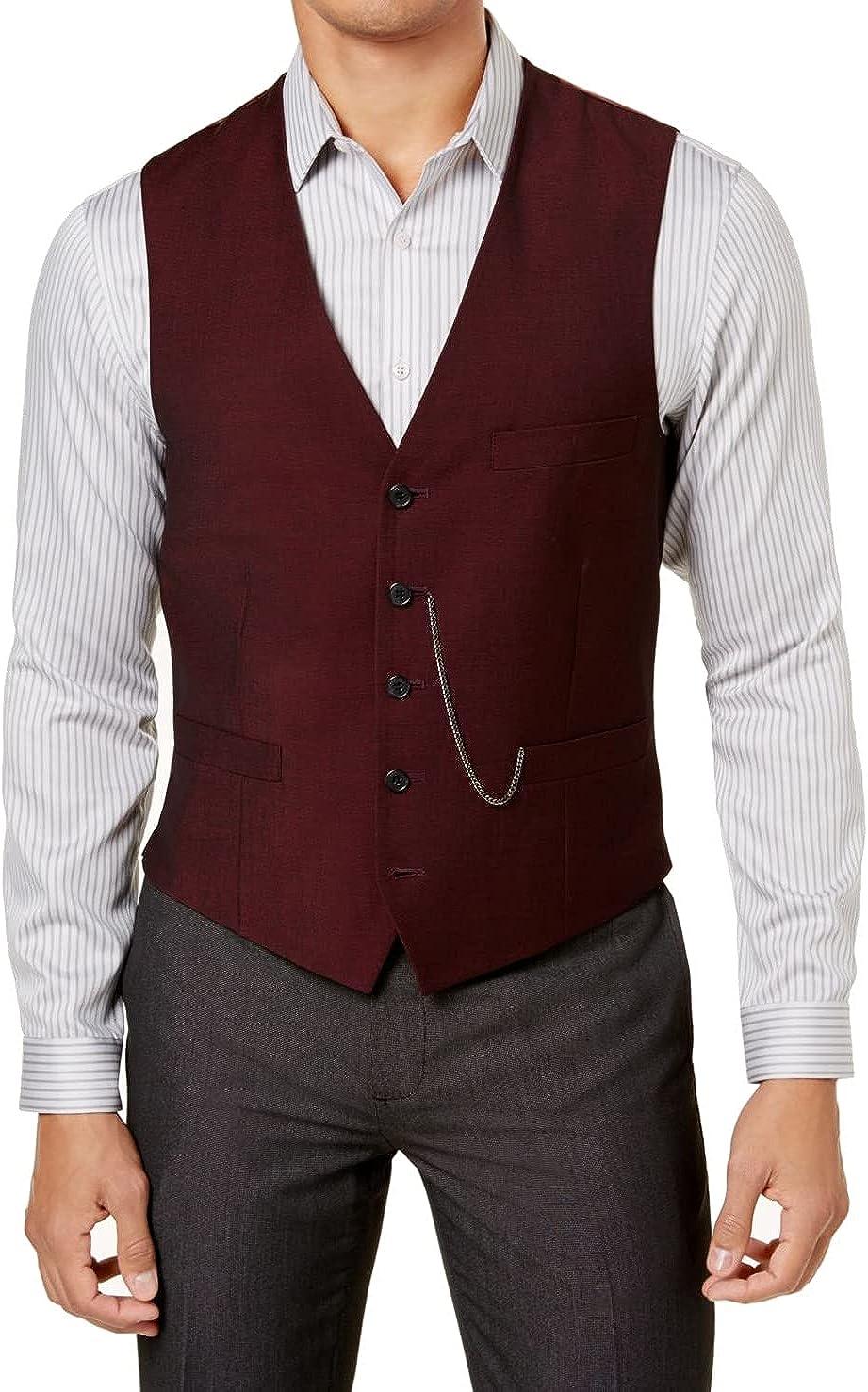 INC Mens Suit Seperates Deep Slim Fit Vest Button-Front Red 2XL