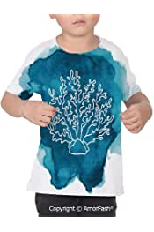 PUTIEN Butterflies Boys and Girls All Over Print T-Shirt,Crew Neck T-Shirt,Colorful Fly