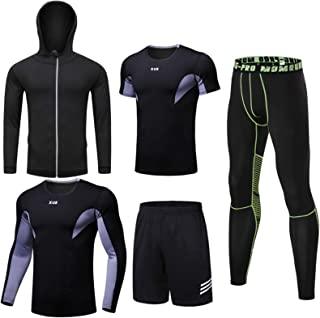 Men'S Compression Underwear Set, Quick Dry Sports T Shirt, Gym Leggings for Running Cycling, Base Layers Tights with Loose...