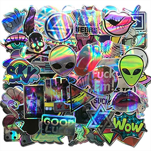 AQK 60Pcs/Lot Cool Motorcycle Laser Stickers Bomb Tide Brand ET Alien Decals For Skateboard Luggage Laptop Notebook Guitar Car