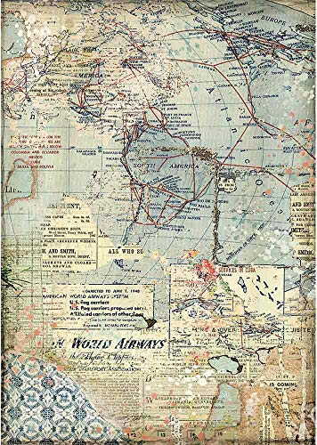 STAMPERIA INTERNATIONAL, KFT RICE PAPER PACK A4 MAPS, One Size