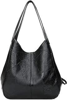 Women's Large-Capacity PU Leather Tote Bags Hobo Bag Handbags 2ways Casual Handbags(2Color:Brown Black)