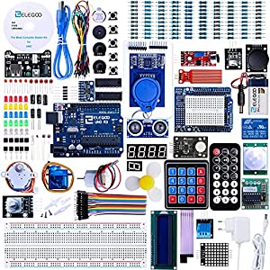 Umfangreichster ELEGOO UNO R3 Starter Kit mit 63 verschiedenen Komponenten: UNO R3 Entwicklungsboard, USB-Kabel, LC-Display 1602, Widerstände, LEDs, Netzteil, Relais, Steckplatine u.a. Zubehör. Unsere Projekte wie z.B. das mit dem LC-Display 1602-Mod...