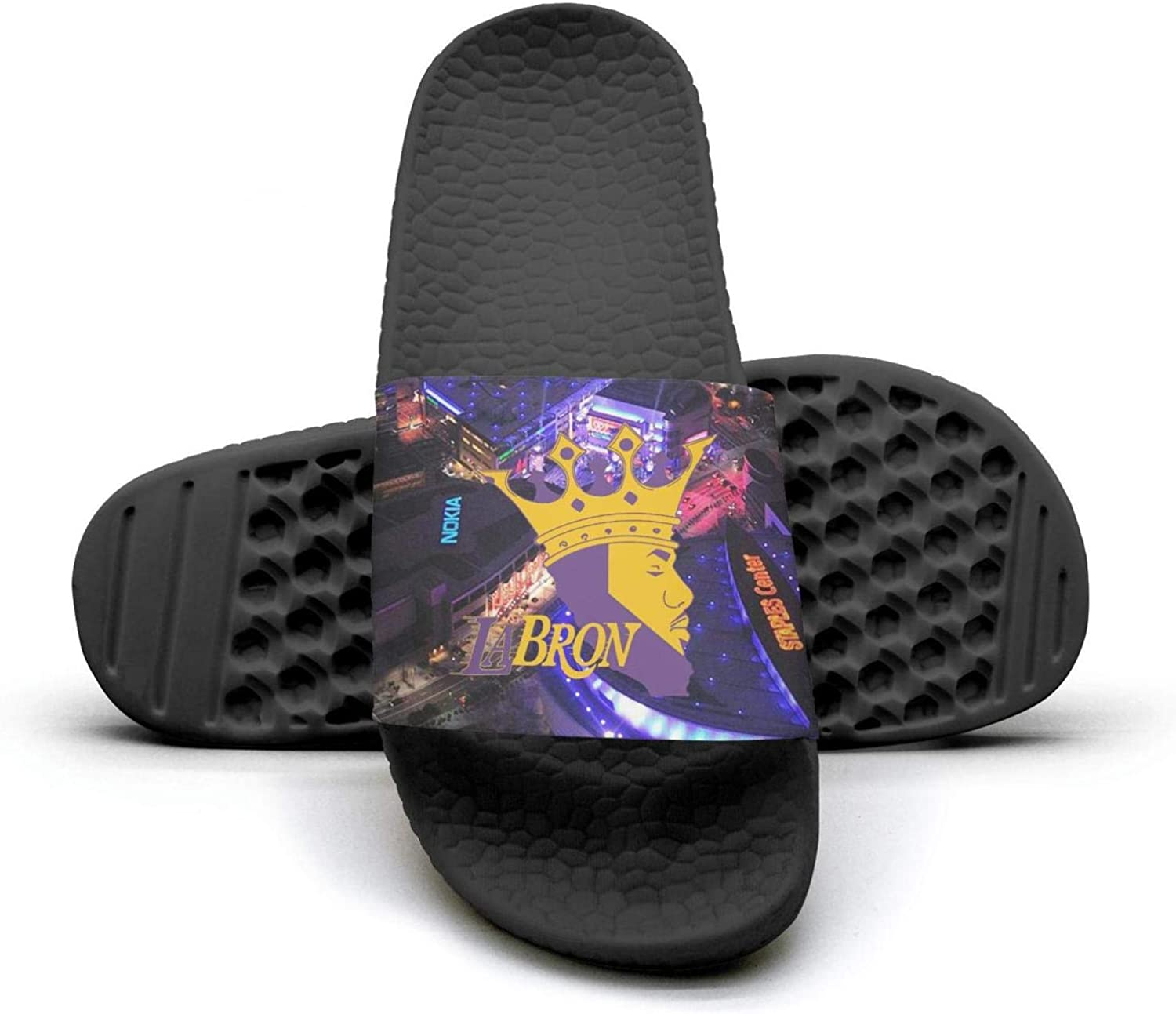 ADIDII Womens Printed Non-Slip Slipper Slides flip Flop Sandals La_Bron_Yellow_Logo_Basketball Summer Comfortable