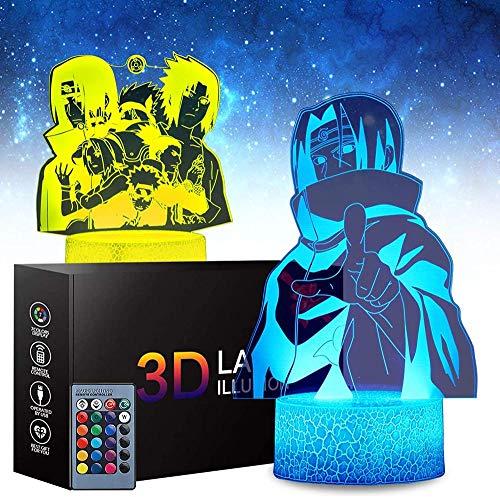 Lámpara 3D de ilusión óptica de luz nocturna Naruto Sasuke niños luz de noche 16 colores cambiar con remoto vacaciones y cumpleaños regalos ideas para niños