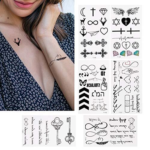 30 Blätter Temporäre Tattoos zum Aufkleben Auf Die Haut Wasserfest, Kleben Tätowierung Wasserdichtes Aufkleber schwarz Kleine Tattoo klebetattoos für Männer Herren Damen Frauen Arme Brust Rücken Beine