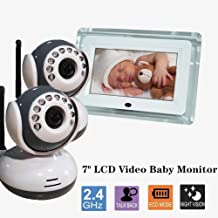 PAKASEPT Video Baby Monitor with 2 Digital Camera,7 inches LCD Large Screen,Two Way Talkback Auto Night Vision Temperature Detection,Support Multi Cameras,Long Battery Life.