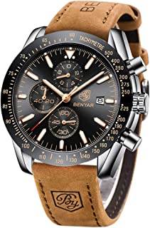 BENYAR - Stylish Wrist Watch for Men, Genuine Leather Strap Watches, Perfect Quartz Movement, Waterproof and Scratch Resis...
