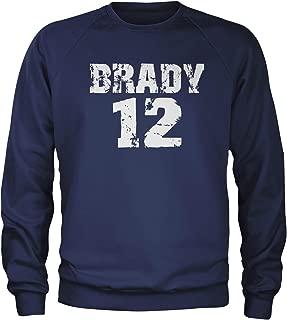 Expression Tees Brady #12 New England Football Crewneck Sweatshirt