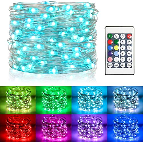 [Remote & Timer ]Koopower 39ft 100 LEDs Battery Operated Fairy Lights, 8 Modes Color Changing Fairy Lights RGB Waterproof Silver Wire Outdoor String Lights for Christmas Gardens Party Bedroom Wedding