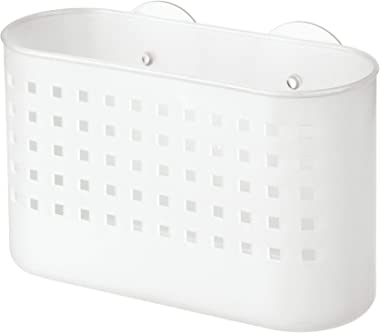 """iDesign Plastic Suction Bathroom Shower Caddy, Rectangular Basket for Shampoo, Conditioner, Soap, Creams, Towels, Razors, Loofahs, 4"""" x 10.2"""" x 7"""" - Frost White"""