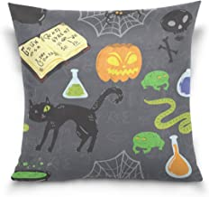 """MASSIKOA Halloween Black Cat Pumpkin Decorative Throw Pillow Case Square Cushion Cover 16"""" x 16"""" for Couch, Bed, Sofa or P..."""