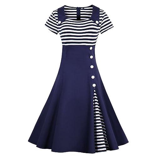 e3f9580b525 Wellwits Women s Vintage Pin Up A Line Stripes Sailor Dress