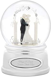 Things Remembered Personalized Bride and Groom Wedding Musical Snow Globe with Engraving Included