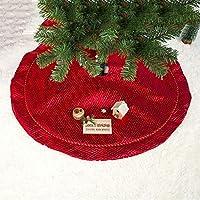 林2 PCSクリスマスダブルチェック柄のビロードのクリスマスツリーの下の飾りクリスマスツリーのスカート(パターン) Chenhuis (Color : Pattern)
