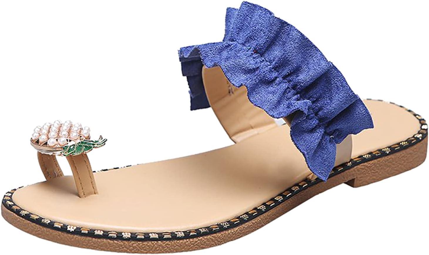 PLENTOP Pineapple Rhinestone Sandals for Women,Ring Toe Shiny Flip Flops Slip-On Slide Single Band Non-Slip Flat Slippers