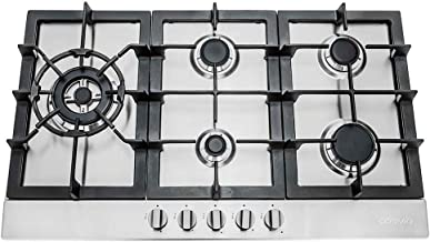 Cosmo 850SLTX-E Gas Cooktop with 5 Burners, Counter Cooker with Cast Iron Grate Stove-Top, Melt-Proof Metal Knobs, 30 inch...