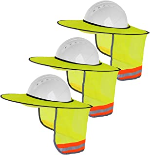 3 Pack Hard Hat Sun Shield - Upgrade Full Brim Neck Sunshade Cover with Reflective Strip for Hardhats