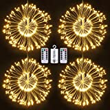 Firework Lights, Homga 4 Pack String Lights 600 LED Starburst Lights Copper Wire Lights, 8 Modes Battery Operated Fairy Lights with Remote, Waterproof Decorative Hanging Lights Party Garden Christmas
