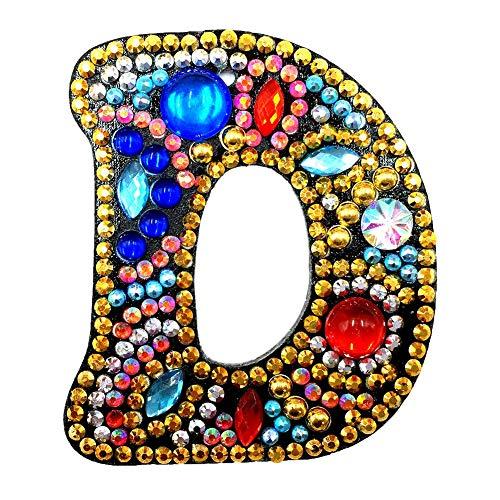 Tdbest Diamant-Schlüsselanhänger DIY Full Drill Buchstabe Malerei Kits Cute Keychain Kunst Handwerk Schlüsselanhänger Anhänger für Kinder und Erwachsene Handtasche Charms Anhänger Geburtstagsgeschenk