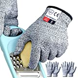 Cutting Gloves Medium, 2 Pairs Cut Resistant Gloves Food Grade, Cut Proof Gloves Kitchen, Cutting Gloves for Chef, Cut Gloves for Anti Cutting, Tesuchan (M - 2 Pairs)