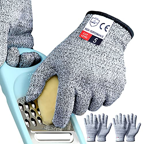 4PCS (2 Pairs) Cutting Gloves Medium, Cut Proof Gloves, Cut Resistant Gloves Food Grade for Anti Cutting, Cut Gloves for Kitchen Cutting, Mandolin Slicing, Tesuchan (M - 2 Pairs)