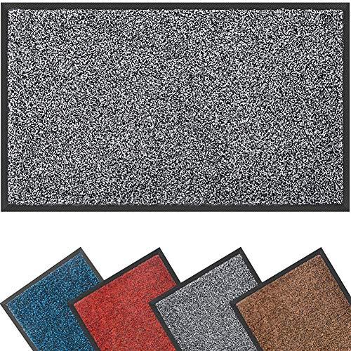 Mibao Dirt Trapper Door Mat for Indoor&outdoor,60x90cm,Grey Black,Washable Barrier Door Mat,Heavy Duty Non-Slip Entrance Rug Shoes Scraper,Super Absorbent Front Door Mat Carpet