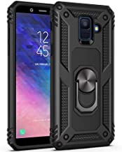 Ikwcase Galaxy A6 Plus 2018 Case, Dual Layer Tough Rugged Ring Holder Stand Armor Shockproof Drop Protection Case Cover for Samsung Galaxy A6 Plus 2018 Black
