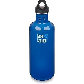 40 oz Stainless Steel Water Bottle Blue Planet with Black Loop Cap